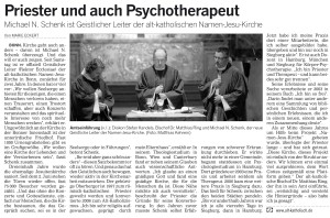 Presse-Artikel: Priester und auch Psychotherapeut. Michael N. Schenk ist geistlicher Leiter der alt-katholischen Namen-Jesu-Kirche. Bonner Rundschau vom 11.12.2012